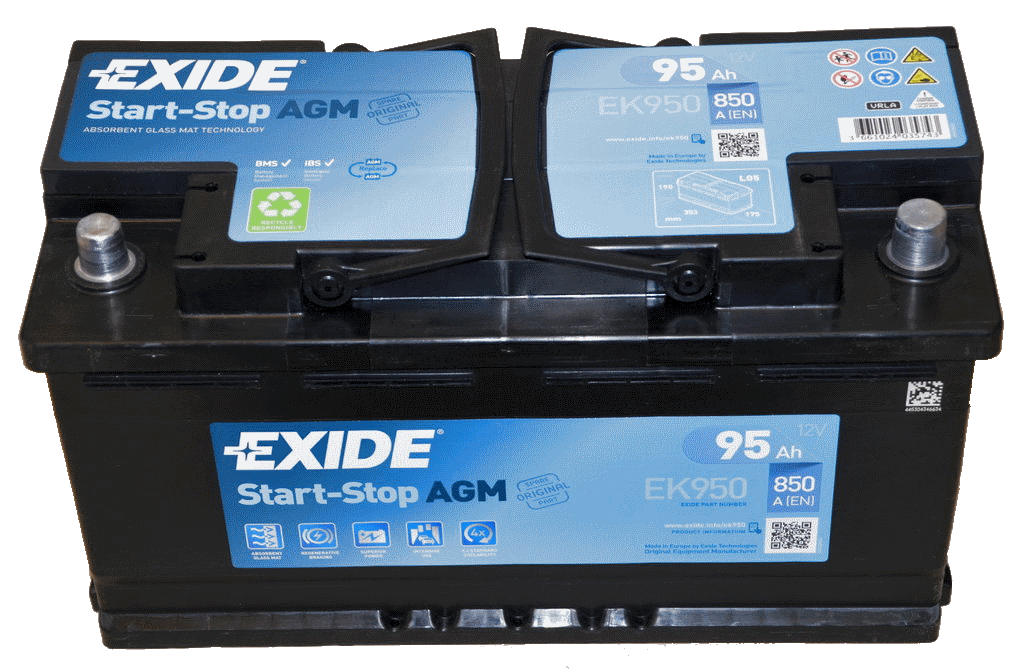 autobatterie 12v 95ah ek950 exide agm start stop online kaufen. Black Bedroom Furniture Sets. Home Design Ideas